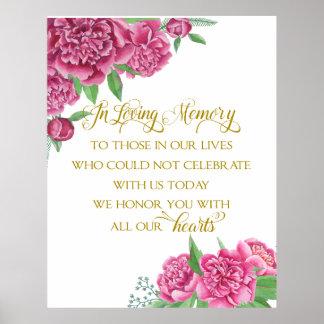 muestra floral del peony del boda de la póster