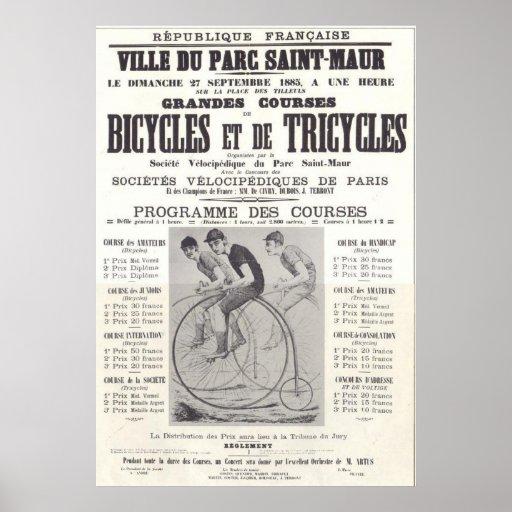 muestra francesa de la bicicleta póster