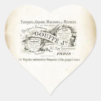 Muestra francesa del almacén grande pegatina en forma de corazón