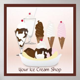 Muestra grande de la tienda de helado poster