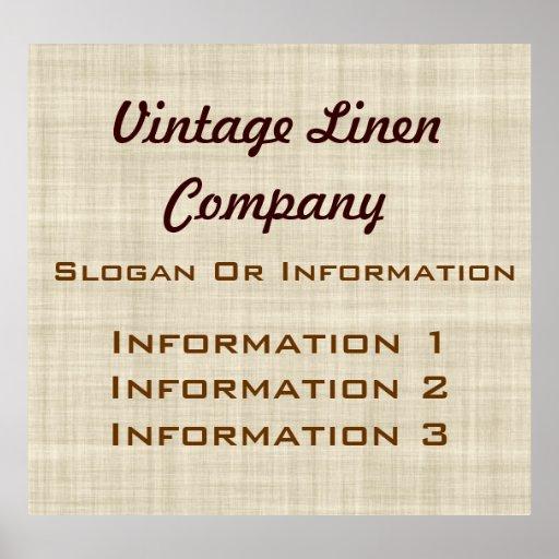 Muestra grande de lino del poster del vintage