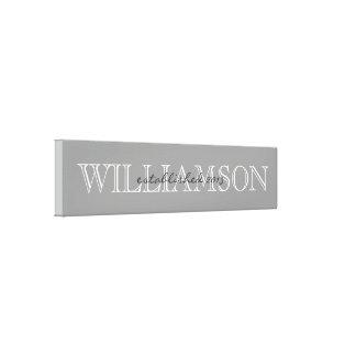 Muestra gris del monograma del apellido impresión en lienzo