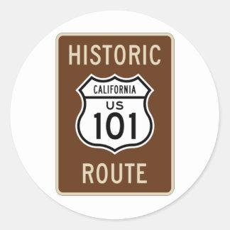 Muestra histórica de la ruta 101 de los E.E.U.U. d Etiquetas Redondas