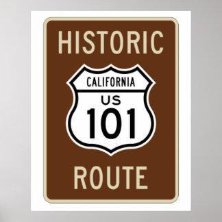 Muestra histórica de la ruta 101 de los E.E.U.U. d Póster