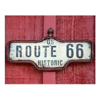 Muestra histórica de la ruta 66 de los E.E.U.U. en Postal