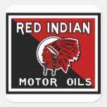 Muestra india roja del vintage de los aceites de m calcomania cuadradas personalizada