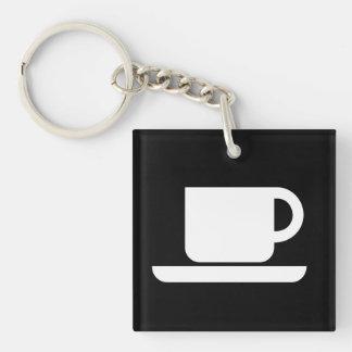 Muestra internacional del Coffeeeeeee Llavero Cuadrado Acrílico A Doble Cara