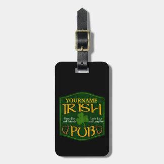 Muestra irlandesa personalizada del Pub Etiqueta De Equipaje