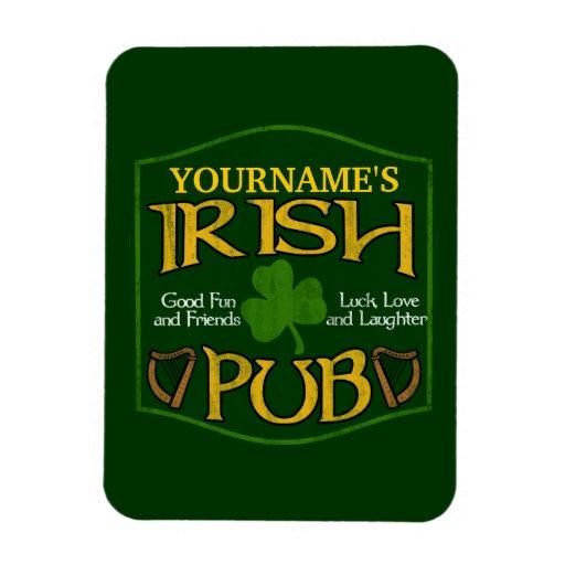 Muestra irlandesa personalizada del Pub Imán Foto Rectangular