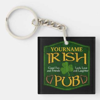 Muestra irlandesa personalizada del Pub Llavero Cuadrado Acrílico A Una Cara