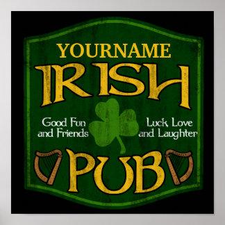 Muestra irlandesa personalizada del Pub Posters