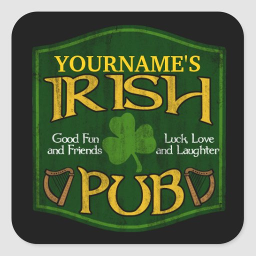 Muestra irlandesa personalizada del Pub Pegatina Cuadradas Personalizada