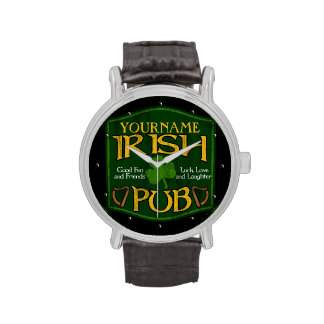 Muestra irlandesa personalizada del Pub Relojes De Pulsera