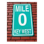 Muestra Key West la Florida del marcador 0 de la Postal