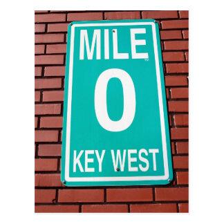 Muestra Key West la Florida del marcador 0 de la Tarjetas Postales