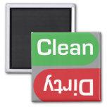 Muestra limpia o sucia del lavaplatos imán de frigorífico
