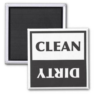 Muestra limpia o sucia del lavaplatos imán cuadrado