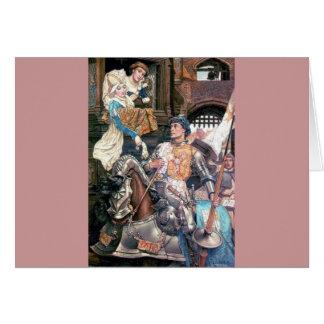 Muestra medieval de la señora del caballero si amo tarjeta de felicitación