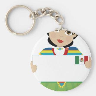Muestra mexicana del chica llavero redondo tipo pin
