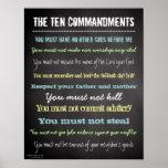 Muestra moderna elegante de diez mandamientos poster