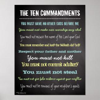 Muestra moderna elegante de diez mandamientos póster