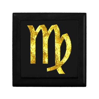 Muestra negra del horóscopo del oro del virgo cajas de joyas