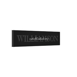 Muestra negra y gris del monograma del apellido lienzo envuelto para galerias