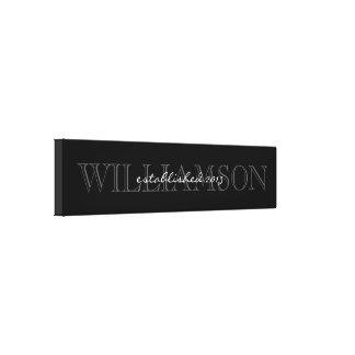 Muestra negra y gris del monograma del apellido lona envuelta para galerias