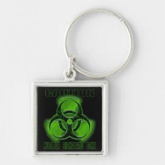 Muestra nuclear de la precaución del Biohazard Llavero Cuadrado Plateado