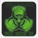 Muestra nuclear de la precaución del Biohazard Pegatina Cuadrada