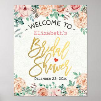Muestra nupcial floral de la ducha de la acuarela póster