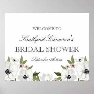 Muestra nupcial floral preciosa de la ducha póster