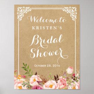 Muestra nupcial floral rústica de la ducha de la póster