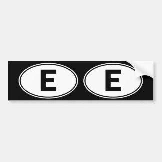 Muestra oval de la identidad de E Pegatina Para Auto