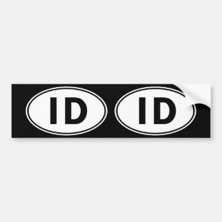 Muestra oval de la identidad de la identificación pegatina para auto