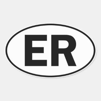 Muestra oval de la identidad del ER Pegatina Ovalada