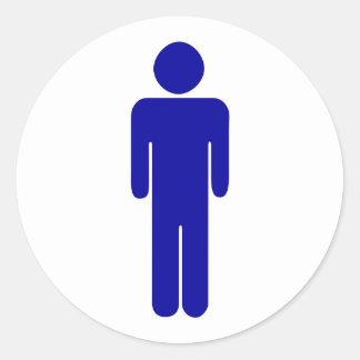 Muestra para hombre del lavabo o del cuarto de pegatina redonda