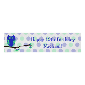 Muestra personalizada cumpleaños azul del búho 10m póster