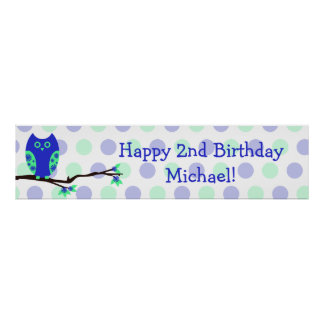 Muestra personalizada cumpleaños azul del búho 2do posters