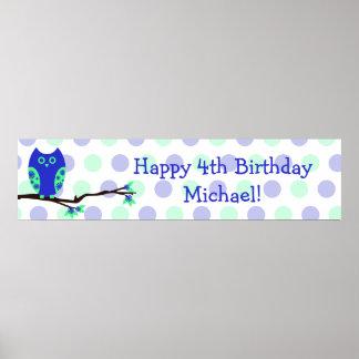 Muestra personalizada cumpleaños azul del búho 4to poster
