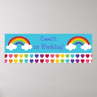 Muestra personalizada cumpleaños de la bandera del poster