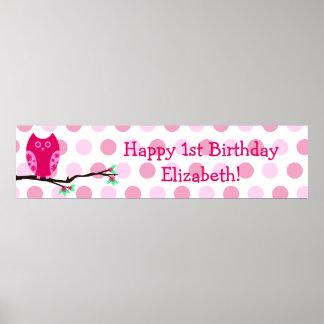 Muestra personalizada cumpleaños rosado del búho 1 poster