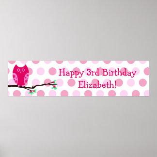 Muestra personalizada cumpleaños rosado del búho 3 poster