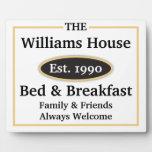 Muestra personalizada de la cama y del desayuno - placas