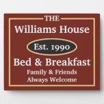Muestra personalizada de la cama y del desayuno placa