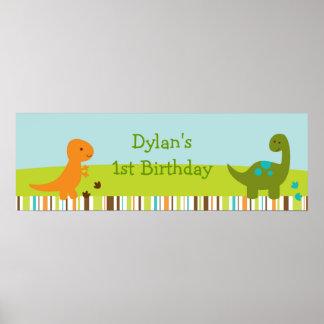 Muestra personalizada dinosaurio de la bandera del póster
