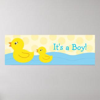 Muestra personalizada pato Ducky de goma de la ban Posters