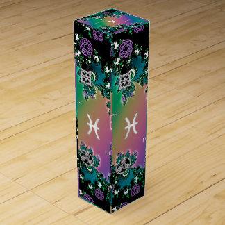 Muestra Piscis del zodiaco del fractal del arco Cajas Para Botellas De Vino