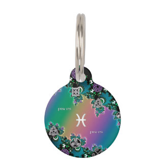 Muestra Piscis del zodiaco del fractal del arco Identificador Para Mascotas