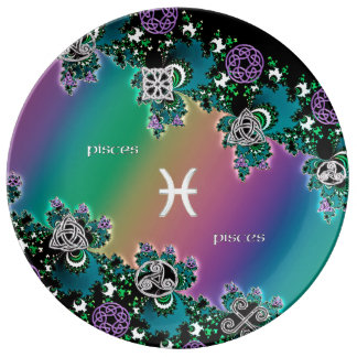 Muestra Piscis del zodiaco del fractal del arco Plato De Cerámica